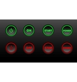 Neon buttons icon set on black bacground vector image