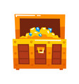 opened wooden chest full gold and diamonds vector image vector image