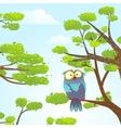 owl sittin on tree in wild nature in sky vector image vector image