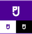 p and j letter monogram shield web icon vector image vector image