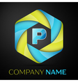 P Letter colorful logo in the hexagonal on black vector image vector image
