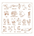 Pasta and macaroni sorts sketch icons vector image vector image