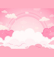pink fairytale sky background with stars vector image vector image