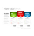 product service pricing comparison table vector image
