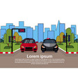 road traffic with police vehicle and car on street vector image