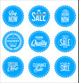 sale blue modern stickers collection vector image vector image