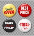 sale button badges set on transparent background vector image vector image