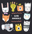 set animal faces vector image