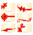 Set of beautiful gift cards with red gift bows vector image vector image