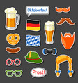 set of oktoberfest photo booth stickers vector image