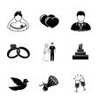 set wedding icons - cake flowers dove vector image