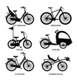 silhouette of different bicycles for children man vector image vector image