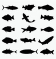 silhouettes of fish 2 vector image vector image