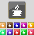 tea coffee icon sign Set with eleven colored vector image vector image