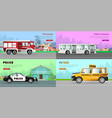 transport collection of four automobile pictures vector image vector image