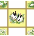 Watercolor rabbits with flowers seamless pattern vector image vector image