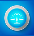 white scales of justice icon court of law symbol vector image