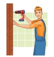 Working man with drill at home eps10 vector image