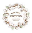 wreath with cotton vector image vector image