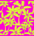 yellow green seamless tropical palms pattern vector image