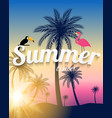 abstract summer time background with flamingo and vector image