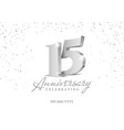 anniversary 15 silver 3d numbers vector image vector image