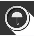black icon - umbrella with shadow vector image