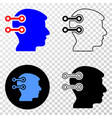 brain interface links eps icon with contour vector image