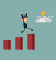 businessman running along growth graph moving to vector image vector image