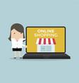 businesswoman promote online shop in computer vector image vector image