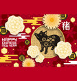 chinese new year greeting poster pig year vector image vector image