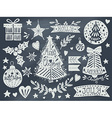 Christmas grunge set on blackboard vector image vector image