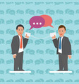 communication business concept with businessmen vector image