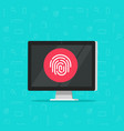 computer with fingerprint icon flat vector image