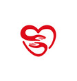 creative hands and heart symbol logo vector image