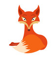 cute cartoon red fox lies simple flat style vector image
