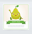 cute humanized pear fruit character waving its vector image vector image