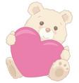 cute little teddy bear holding a heart valentine vector image vector image