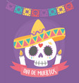 day dead sugar skull with hat candles vector image vector image