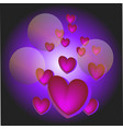 festive violet background with hearts bokeh and vector image vector image