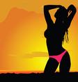 girl silhouette in desert with bikini vector image