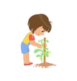 Girl Taking Care Of A Plant vector image vector image