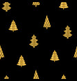 gold christmas trees on black background seamless vector image vector image