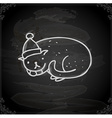 Hand Drawn Christmas Cat vector image vector image
