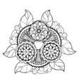Hand drawn floral zentangle on white background vector image vector image