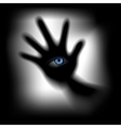 hand with an eye for glass vector image vector image