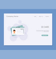 id card flat design style identification card icon vector image