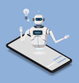 isometric science chat bot smartphone concept vector image vector image
