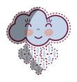 kawaii happy cloud raining with close eyes and vector image vector image