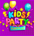kids party welcome banner in cartoon style vector image